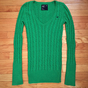 American Eagle S Green Cable Knit  Sweater